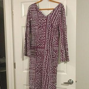Purple bell sleeve  mini dress.